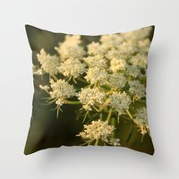 Queen Anne's Lace Flower Throw Pillow