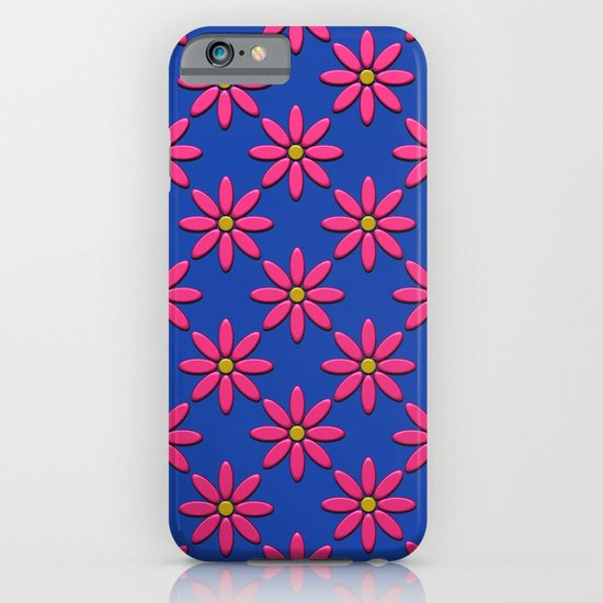 Pink Flowers on Blue Field iPhone & iPod Case