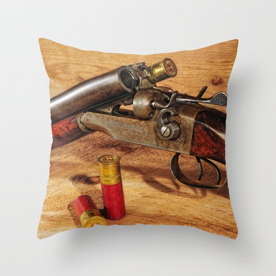 Old Double Barrel Stevens Throw Pillow