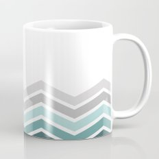 WHITE/ TEAL CHEVRON FADE Mug