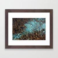 Aqua and Brown Color Photo Framed Art Print