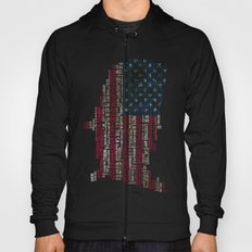 United States Flag Map With Major Cities Hoody