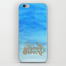 Hope anchors the soul - Typography maritime iPhone & iPod Skin