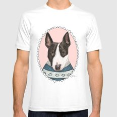 Bull Terrier Mens Fitted Tee White SMALL