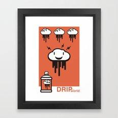 Drip World Orange Framed Art Print