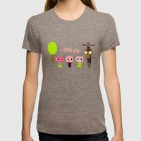 3 Little pigs Womens Fitted Tee Tri-Coffee SMALL