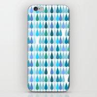 Blue water drops iPhone & iPod Skin