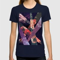 ROSES IN THE GALAXY Womens Fitted Tee Navy SMALL
