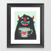 Demon with a cup of coffee Framed Art Print