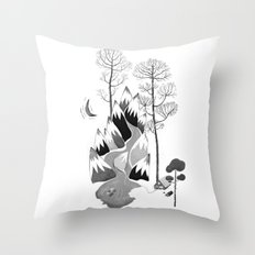 a cabin in the mountains Throw Pillow
