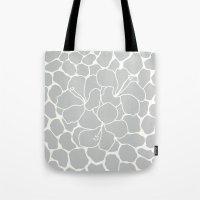 Hibiscus Animal : Light Grey  Tote Bag