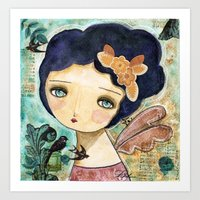 Charity Wings Watercolor Collage Art Print