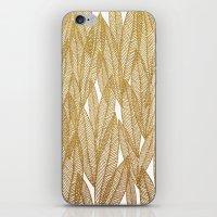 Gold & White Leaves iPhone & iPod Skin