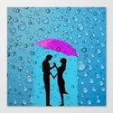 Couple In The Rain Canvas Print