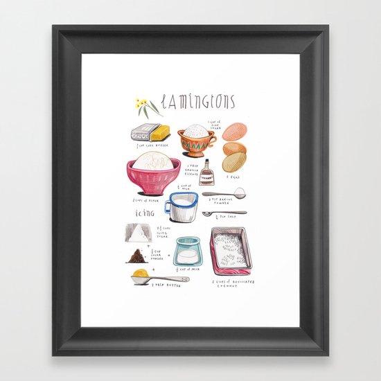 Illustrated Recipes Lamingtons Framed Art Print By