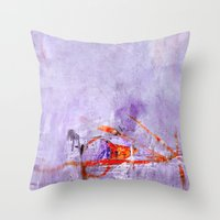 orange & dusty violet Throw Pillow