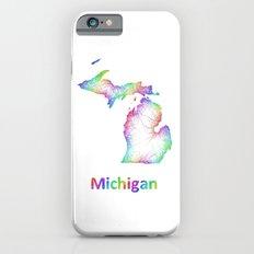 Rainbow Michigan map iPhone 6 Slim Case