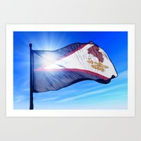 American Samoa flag waving on the wind Art Print
