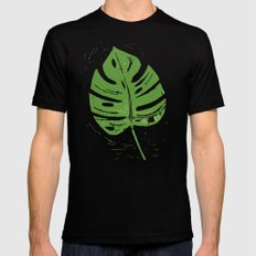 Linocut Leaf SMALL Black Mens Fitted Tee