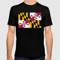 State flag of Maryland, Authentic version SMALL Black Mens Fitted Tee