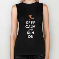Keep Calm and Run On (male runner) Biker Tank