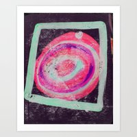 Abstract Green Pink Art Print