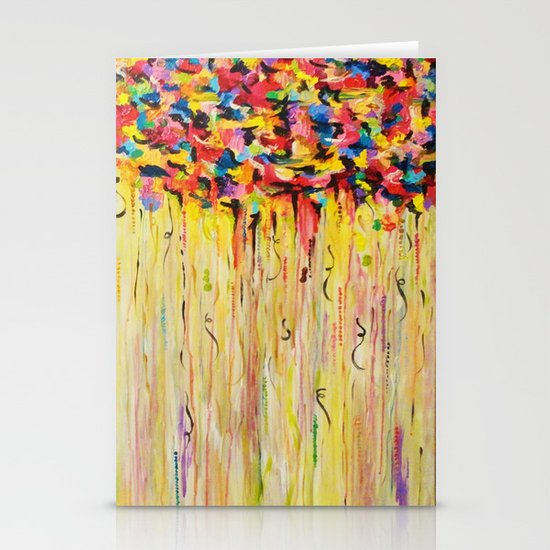 OPPOSITES LOVE Raining Sunshine - Bold Bright Sunny Colorful Rain Storm Abstract Acrylic Painting Stationery Card