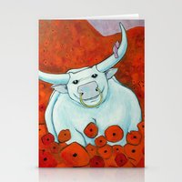 Bull In Poppies Stationery Cards