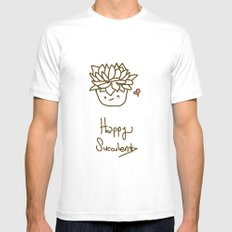 Happy Succulent Mens Fitted Tee SMALL White