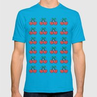 Cherry Pattern Mens Fitted Tee Teal SMALL