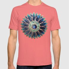 Mosaik Flower, Turquoise Mens Fitted Tee Pomegranate SMALL