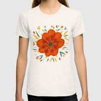 Decorative Whimsical Orange Flower Womens Fitted Tee Natural SMALL