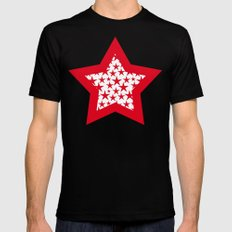 Red stars on white background illustration SMALL Mens Fitted Tee Black