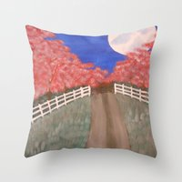 Cherry Blossom Pathway Throw Pillow