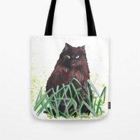 grass cat Tote Bag