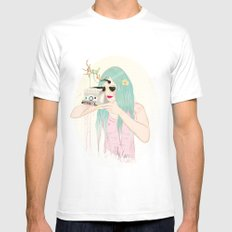 Smile at the camera  Mens Fitted Tee White SMALL