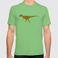 T-rex Orange Dinosaur Mens Fitted Tee Grass SMALL