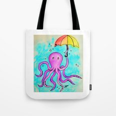 Octopus and Umbrella - watercolor Tote Bag