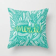 Pardon My French – Gold on Turquoise Throw Pillow