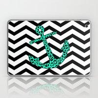 Mint Leopard Chevron Anchor Laptop & iPad Skin