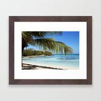 Tropical Island Beach palm tree Framed Art Print