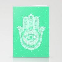 Hamsa lucky green Stationery Cards