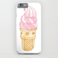 Watercolour Illustrated Ice Cream - Strawberry Swirl iPhone 6 Slim Case