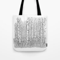 Birch Trees Black And Wh… Tote Bag