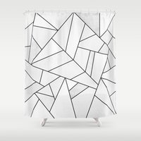 White Stone / Black Line… Shower Curtain