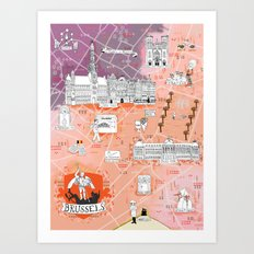 Illustrated Map of Brussels, Belgium Art Print