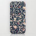 Navy Garden - floral doodle pattern in cream, dark red & blue iPhone & iPod Case