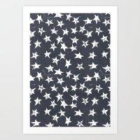 Linocut Stars - Navy & White Art Print