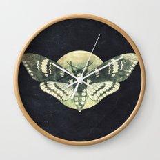 Moth And Moon Wall Clock