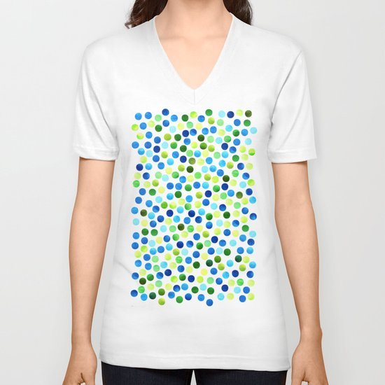 Watercolor Dots_Aqua by Jacqueline and Garima V-neck T-shirt